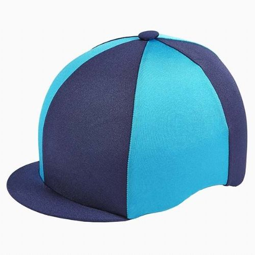 Capz Quartered Lycra Hat Cover in Navy/Turquoise